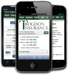 Mobile insurance website for Trogdon Marshall Agency at m.trogdoninsurance.com